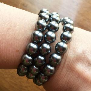 KJL gray pearl coil bracelet